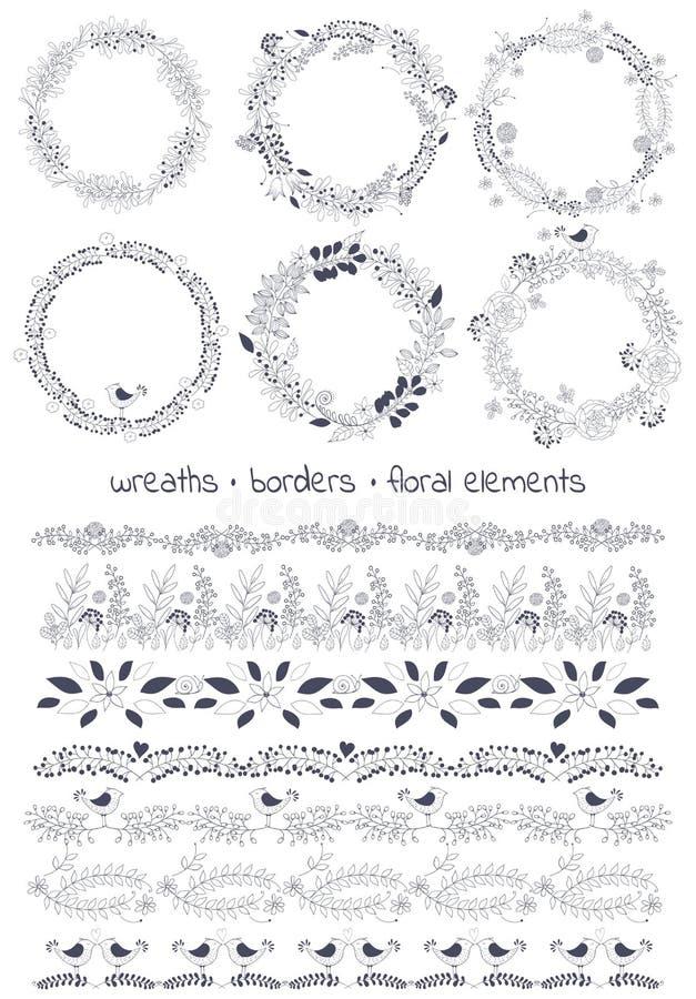 Το διανυσματικό κουτί εργαλείων σχεδίου περιλαμβάνει: 6wreaths, 7borders και μεμονωμένα floral στοιχεία διανυσματική απεικόνιση