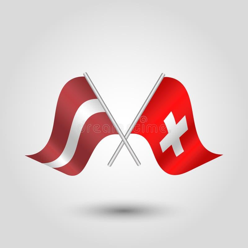 Το διανυσματικό κυματίζοντας τρίγωνο δύο διέσχισε τις λετονικές και δανικές σημαίες στον κλιμένο ασημένιο πόλο - εικονίδιο της Λε διανυσματική απεικόνιση