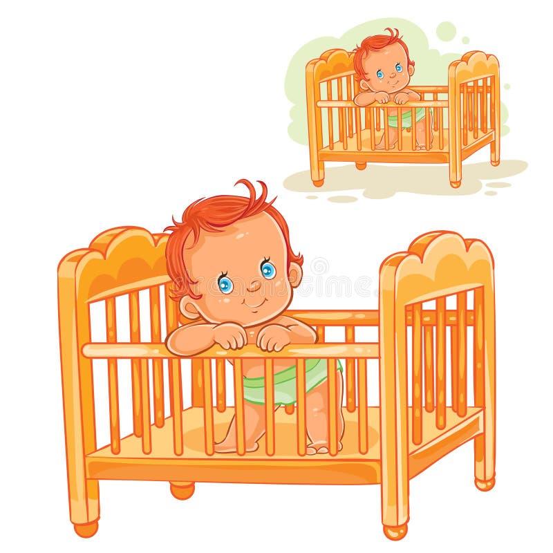 Το διανυσματικό μωρό απεικόνισης είναι στην κούνια του απεικόνιση αποθεμάτων