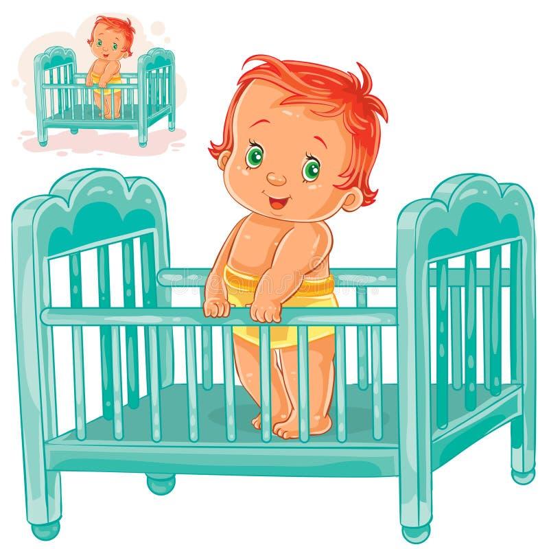 Το διανυσματικό μωρό απεικόνισης είναι στην κούνια του διανυσματική απεικόνιση
