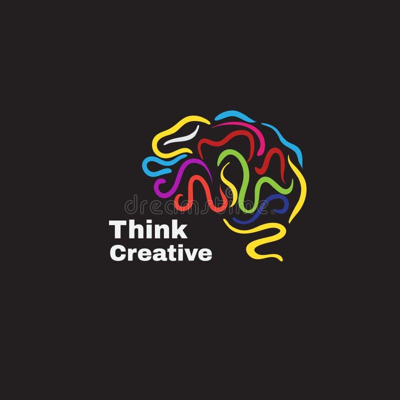 Το διανυσματικό λογότυπο με ο ανθρώπινος εγκέφαλος απεικόνιση αποθεμάτων
