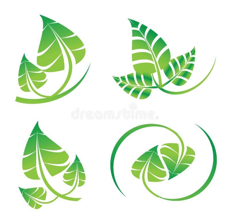Το διανυσματικό πράσινο σύνολο φύλλων, logotype εικονίδια για το οργανικό, φυσικό, περιβάλλον αφορούσε το γραφικό σχέδιο ελεύθερη απεικόνιση δικαιώματος