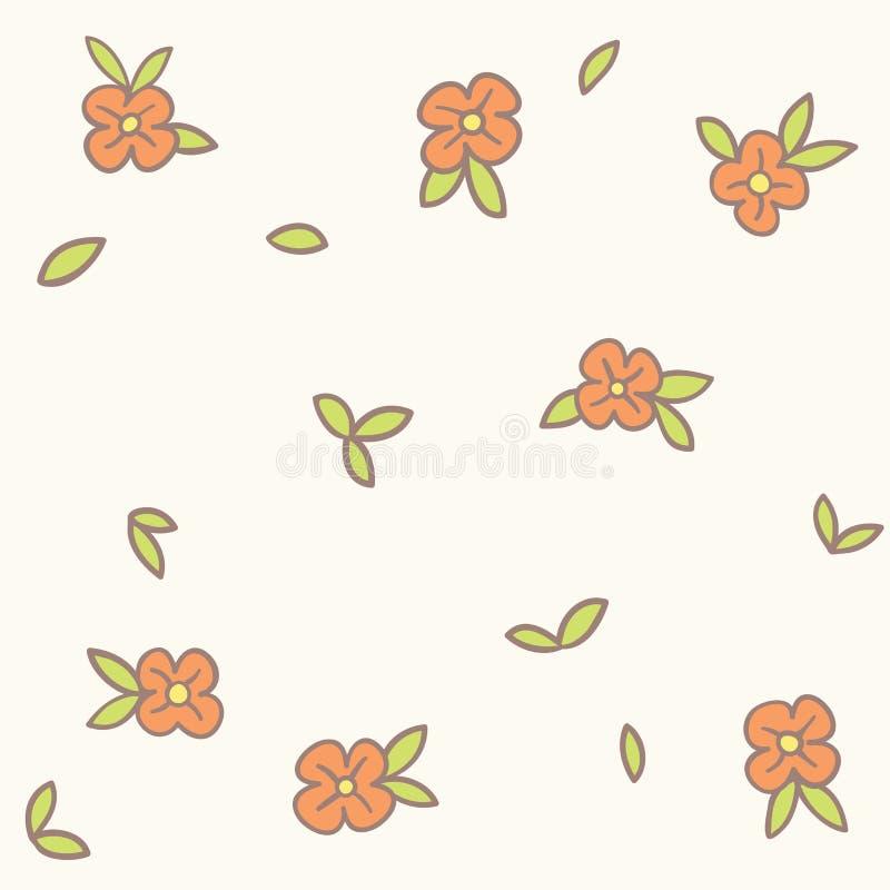 Το διανυσματικό ρομαντικό χέρι σύρει το άνευ ραφής floral υπόβαθρο χάους απεικόνιση αποθεμάτων