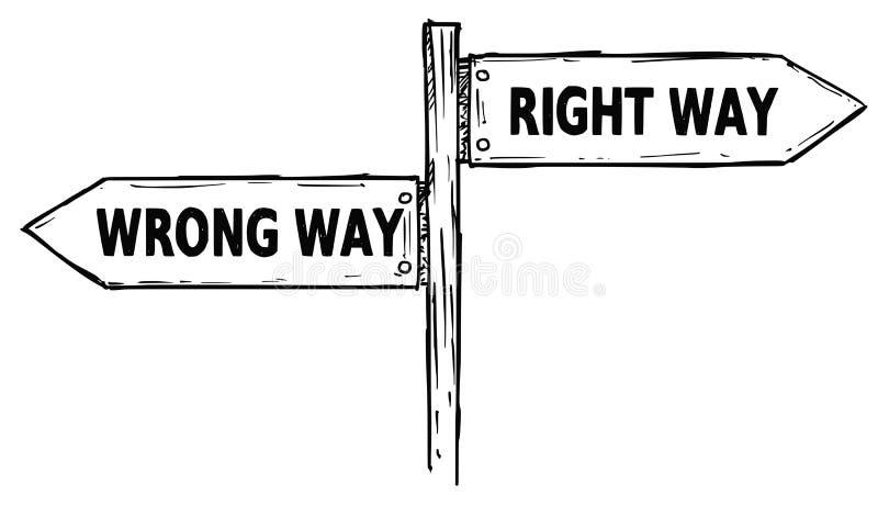 Το διανυσματικό σημάδι κατεύθυνσης κινούμενων σχεδίων με δύο βέλη απόφασης διορθώνει και απεικόνιση αποθεμάτων
