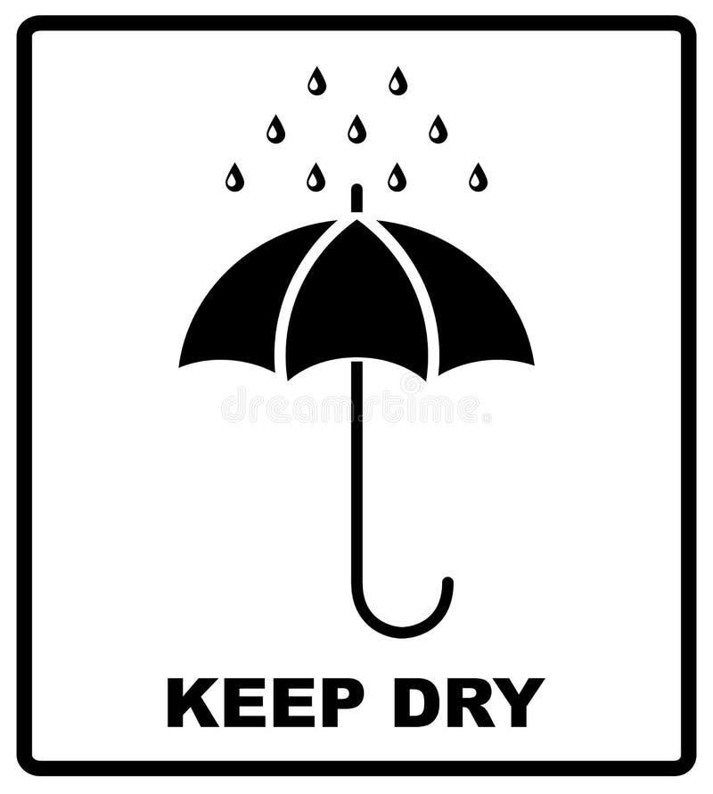 Το διανυσματικό συσκευάζοντας σημάδι εικονιδίων κρατά ξηρός με την ομπρέλα και τις πτώσεις διανυσματική απεικόνιση