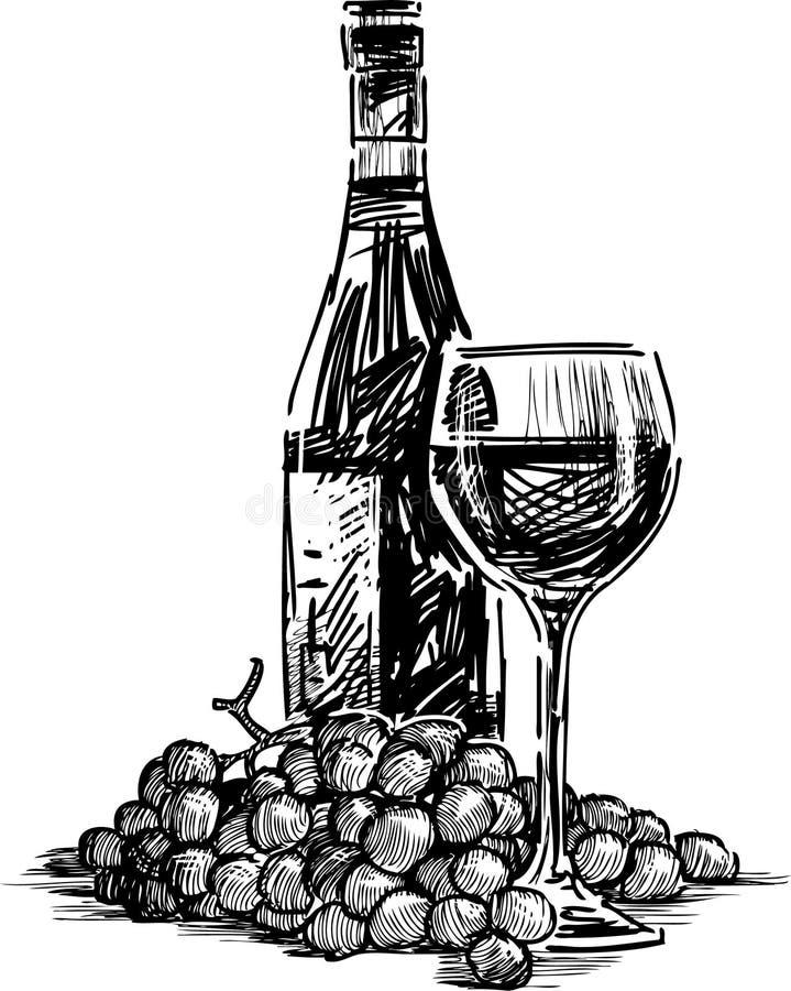 Μπουκάλι, γυαλί και σταφύλι διανυσματική απεικόνιση