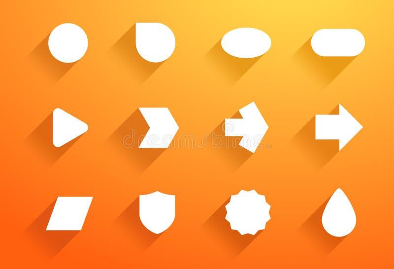 Το διανυσματικό σύνολο άσπρου εικονιδίου διαμορφώνει με τις επίπεδες σκιές Α διανυσματική απεικόνιση