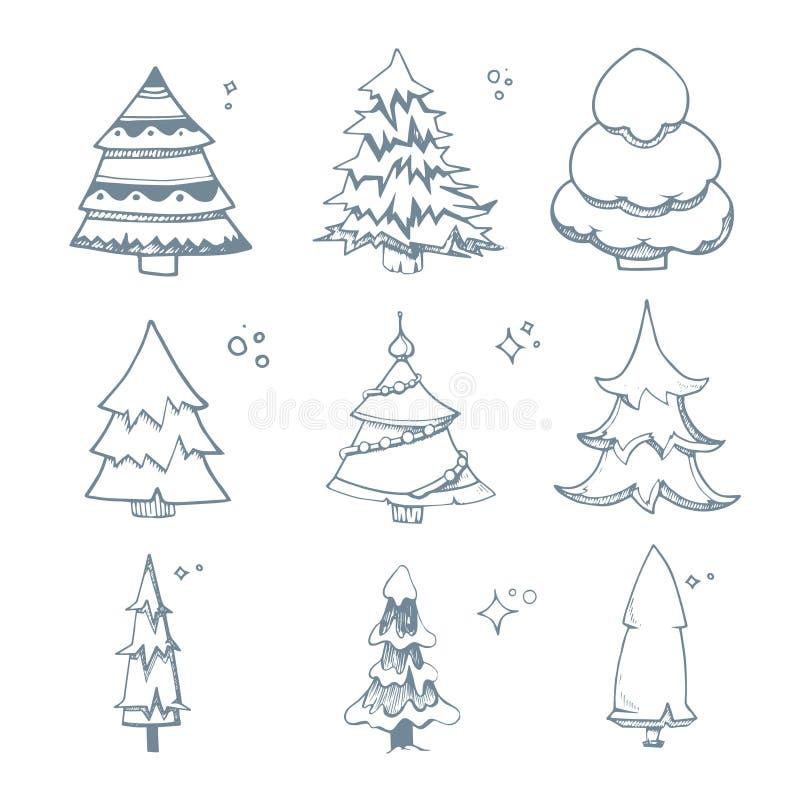 Το διανυσματικό σύνολο απεικόνισης χεριού πνίγει τα δέντρα του FIR διανυσματική απεικόνιση