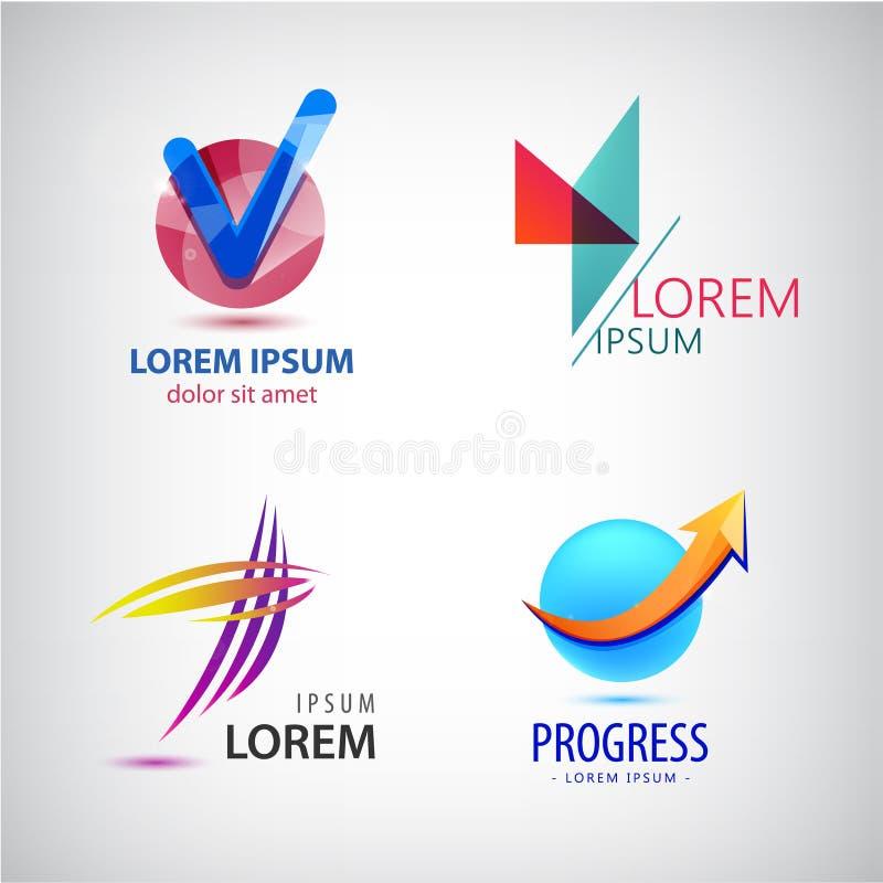 Το διανυσματικό σύνολο αφηρημένων λογότυπων, βέλος προόδου αυξάνεται το εικονίδιο, σημάδι κροτώνων διανυσματική απεικόνιση