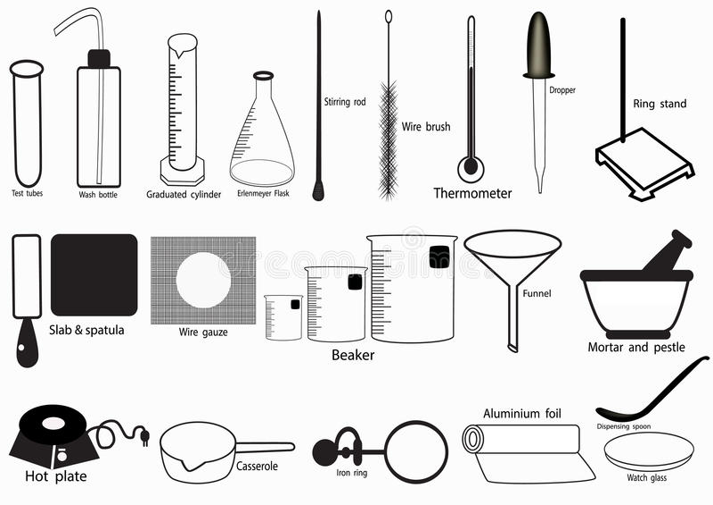 Το διανυσματικό σύνολο εικονιδίων εργαστηρίων επιστήμης, χημικά εικονίδια έθεσε, χημικό εργαστήριο, χημικά γυαλικά επίσης corel σ διανυσματική απεικόνιση