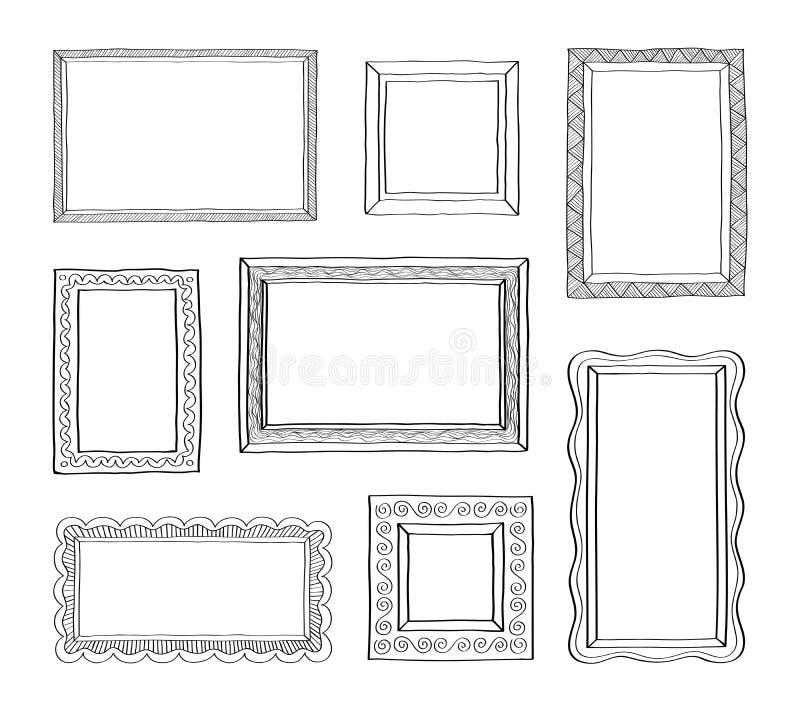 Το διανυσματικό σύνολο εκλεκτής ποιότητας πλαισίων φωτογραφιών, χέρι που σύρεται doodle ορίζει, παλαιά διακοσμητικά και χαριτωμέν απεικόνιση αποθεμάτων