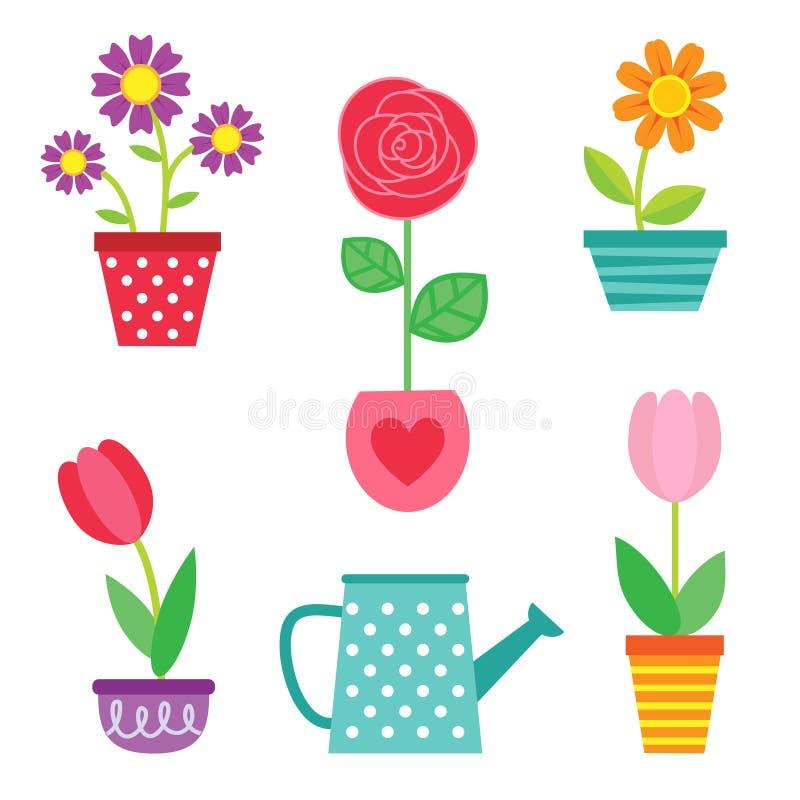 Το διανυσματικό σύνολο λουλουδιών στα δοχεία και το πότισμα μπορούν ελεύθερη απεικόνιση δικαιώματος