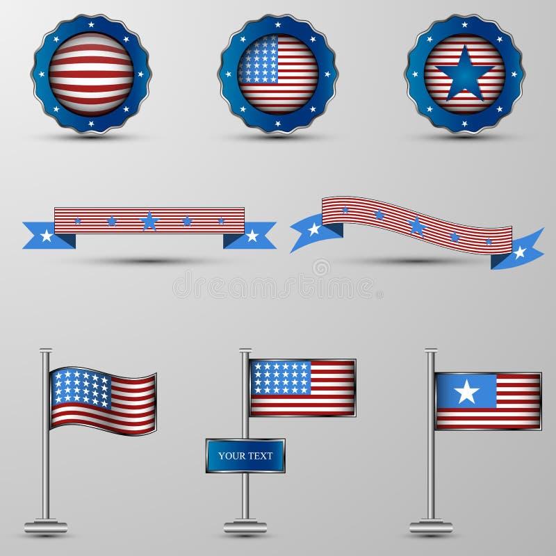 Το διανυσματικό σύνολο στοιχείων σχεδίου με το αμερικανικό symbolics ελεύθερη απεικόνιση δικαιώματος