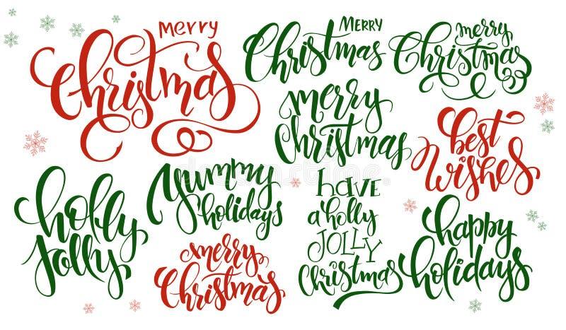Το διανυσματικό σύνολο Χριστουγέννων εγγραφής χεριών αναφέρει - Χαρούμενα Χριστούγεννα, ελαιόπρινος ευχάριστα και άλλοι, που γράφ απεικόνιση αποθεμάτων