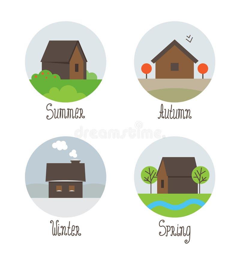 Το διανυσματικό σύνολο χωριού στεγάζει τα εικονίδια ελεύθερη απεικόνιση δικαιώματος
