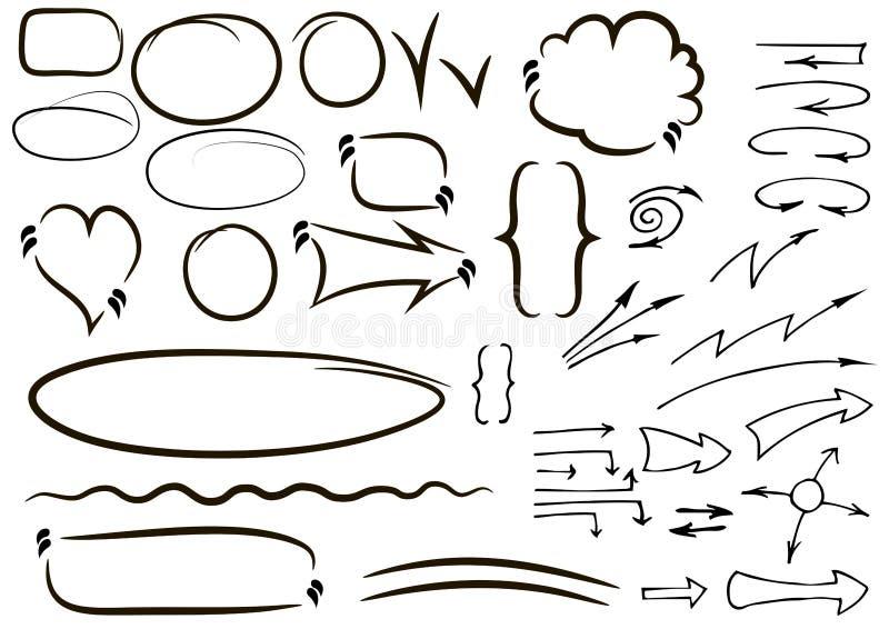 Το διανυσματικό χέρι που σύρθηκε απομόνωσε τα περιγραμματικά εικονίδια βελών καθορισμένα συρμένο χέρι απεικόνιση αποθεμάτων