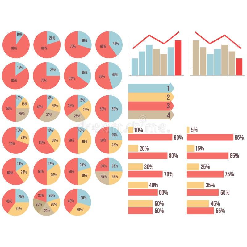 Το διανυσματικό isvector απομόνωσε το infograpfics καθορισμένο: διαγράμματα πιτών, διαγράμματα, grapfics αύξησης και πτώσης, βέλη απεικόνιση αποθεμάτων