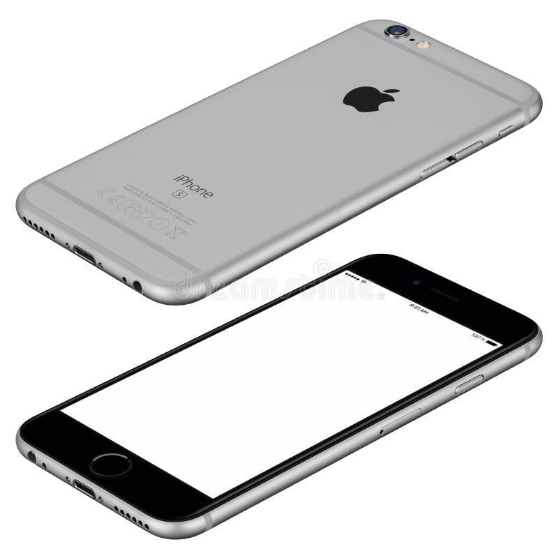 Το διαστημικό γκρίζο πρότυπο iPhone της Apple 6s βρίσκεται στην επιφάνεια δεξιόστροφα στοκ φωτογραφία