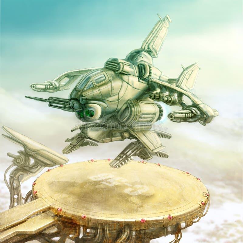 Το διαστημικό λεωφορείο απογειώνεται από τη ζώνη προσγείωσης Απεικόνιση επιστημονικής φαντασίας διανυσματική απεικόνιση