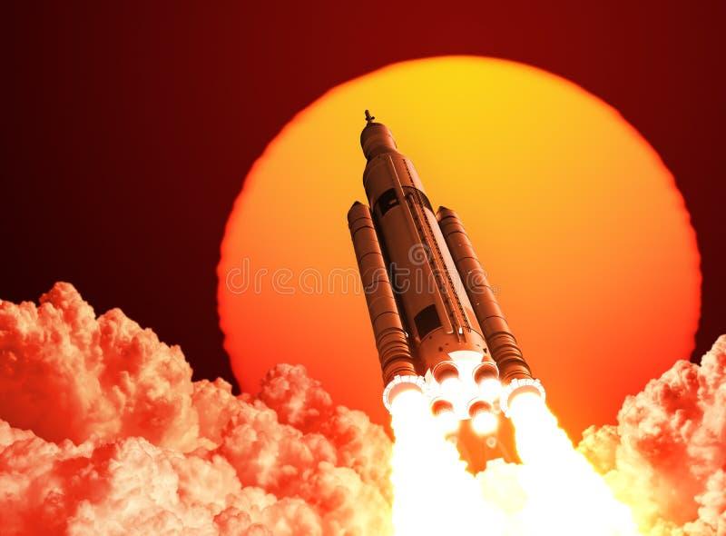 Το διαστημικό σύστημα έναρξης απογειώνεται στο υπόβαθρο της ανατολής ελεύθερη απεικόνιση δικαιώματος