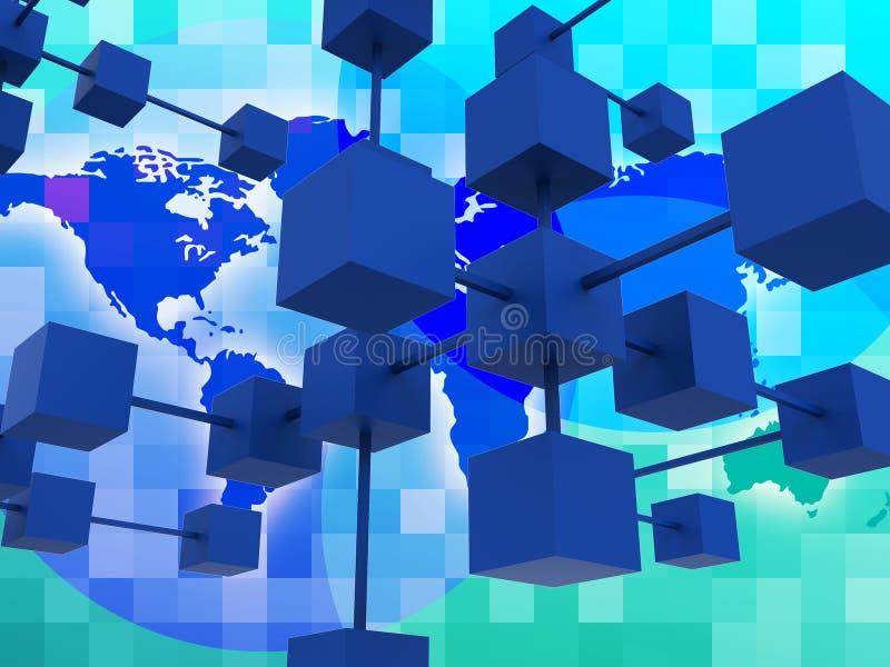 Το διασυνδεμένο δίκτυο αντιπροσωπεύει τις παγκόσμιες επικοινωνίες και Conn διανυσματική απεικόνιση