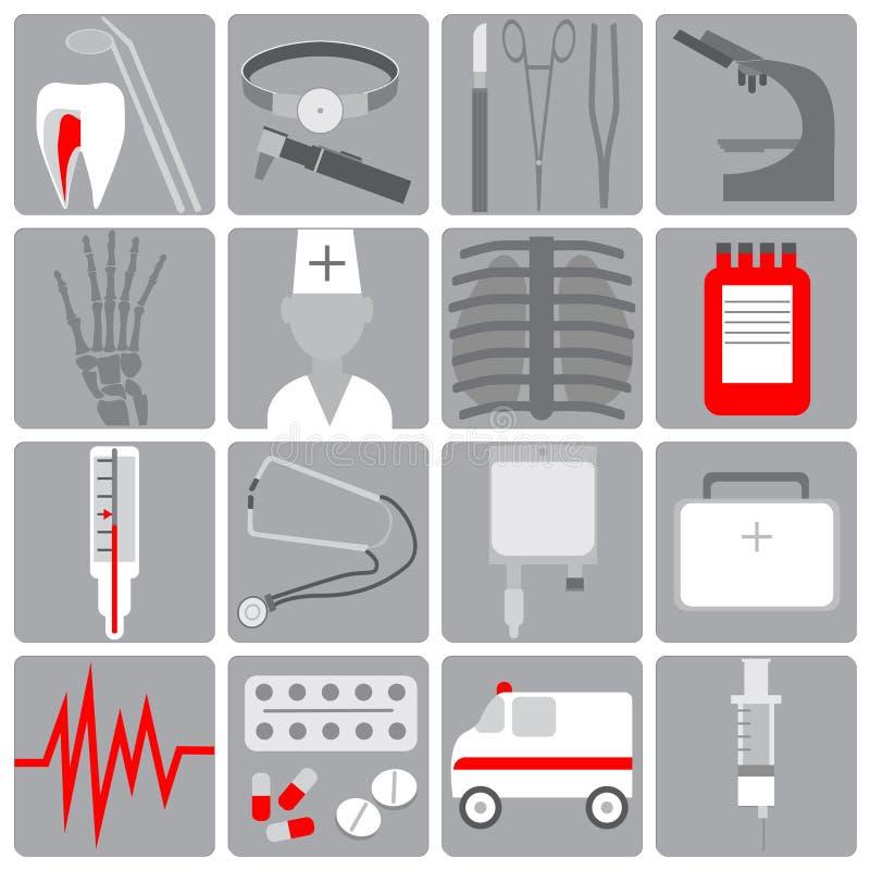 Το ιατρικό εικονίδιο στο επίπεδο ύφος, έθεσε τα ιατρικά εικονίδια, επίπεδο σχέδιο, γκρίζο με το κόκκινο ελεύθερη απεικόνιση δικαιώματος