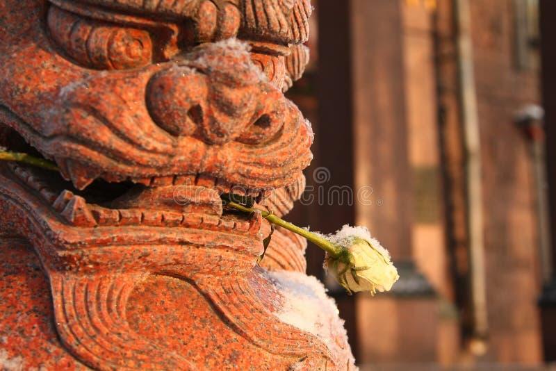 Το λιοντάρι του Βούδα και αυξήθηκε στοκ φωτογραφία με δικαίωμα ελεύθερης χρήσης
