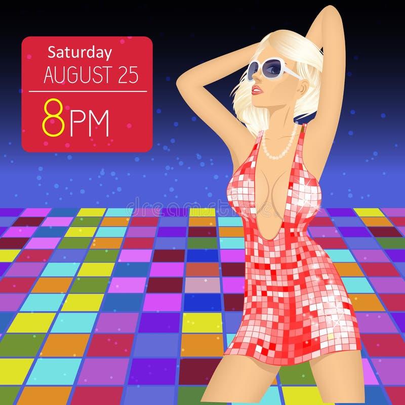 Το ιπτάμενο, το έμβλημα ή το πρότυπο κόμματος με τη νέα γυναίκα στο νυχτερινό κέντρο διασκέδασης χορεύουν στο πάτωμα απεικόνιση αποθεμάτων