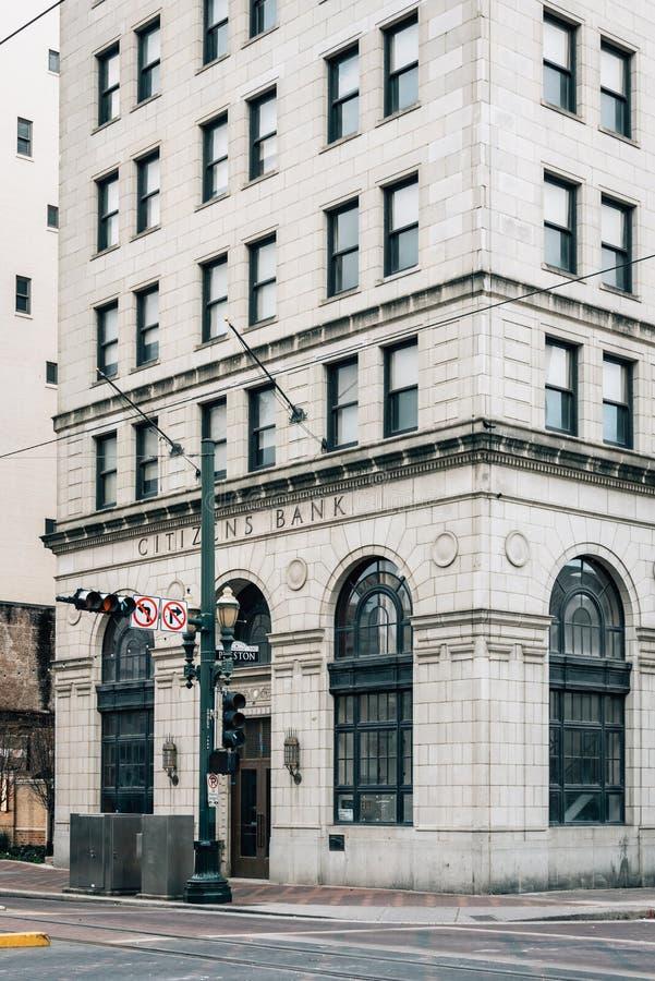 Το ιστορικό κτήριο τράπεζας πολιτών στο στο κέντρο της πόλης Χιούστον, Τέξας στοκ εικόνα με δικαίωμα ελεύθερης χρήσης