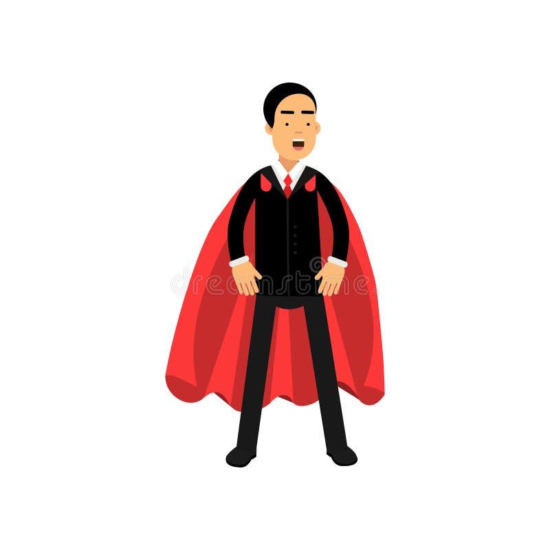 Το ισχυρό και ισχυρό επιχειρησιακό άτομο που στέκεται στο superhero θέτει με τον κόκκινο μανδύα Αρσενικός χαρακτήρας κινούμενων σ απεικόνιση αποθεμάτων