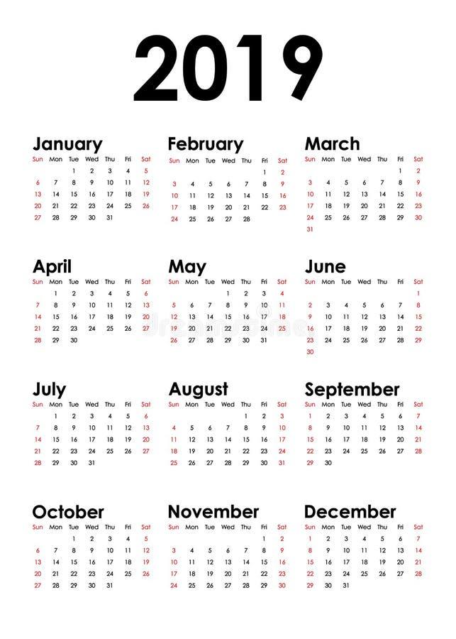 Το κάθετο ημερολόγιο για το έτος του 2019 απομόνωσε το άσπρο υπόβαθρο απεικόνιση αποθεμάτων