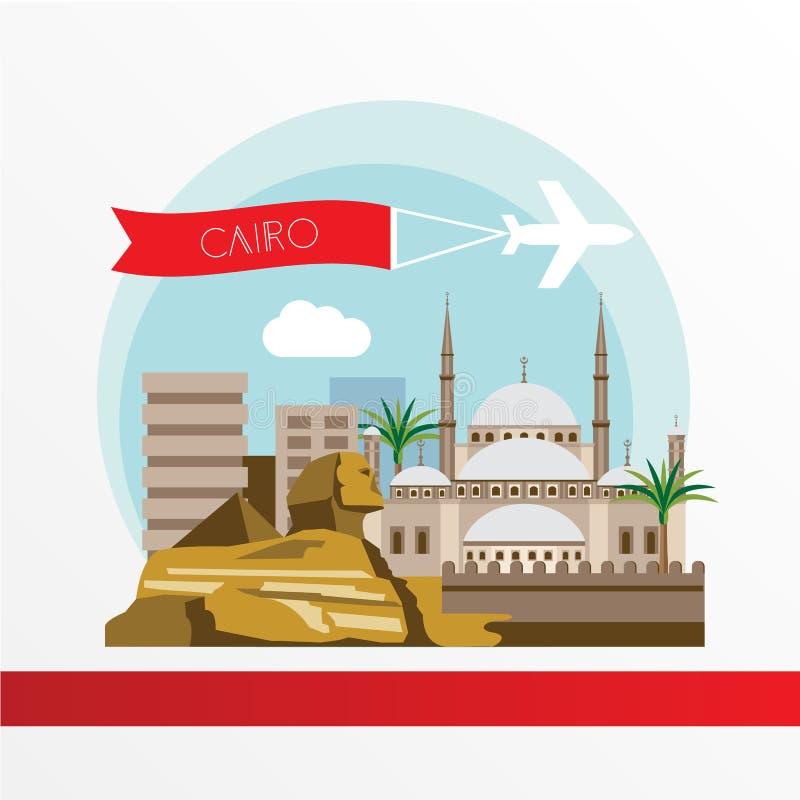 Το Κάιρο απαρίθμησε τη σκιαγραφία Καθιερώνοντα τη μόδα μοντέρνα ζωηρόχρωμα ορόσημα διανυσματική απεικόνιση