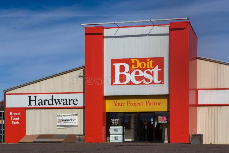Το κάνετε καλύτερα κατάστημα και λογότυπο υλικού στοκ φωτογραφίες