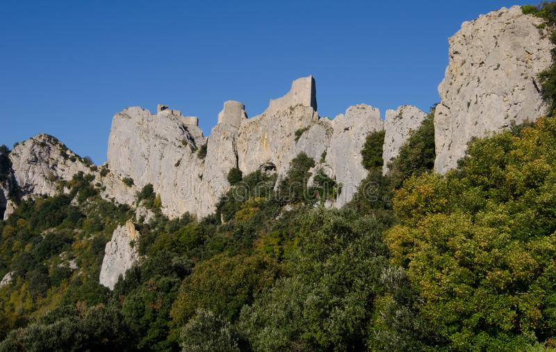 Το κάστρο Peyrepertuse στη Γαλλία στοκ φωτογραφία