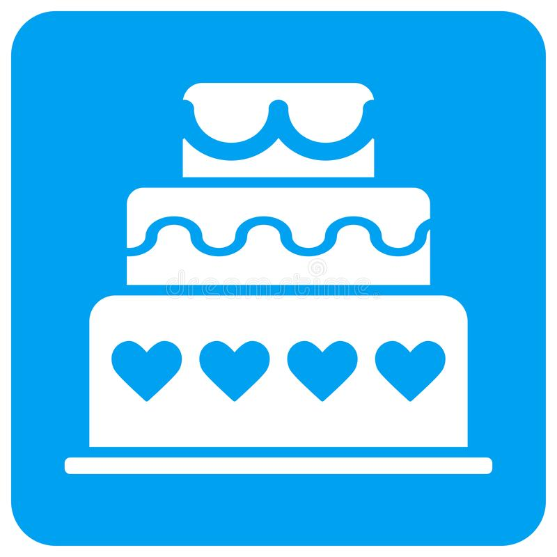 Το κέικ γάμου στρογγύλεψε το τετραγωνικό εικονίδιο ράστερ διανυσματική απεικόνιση