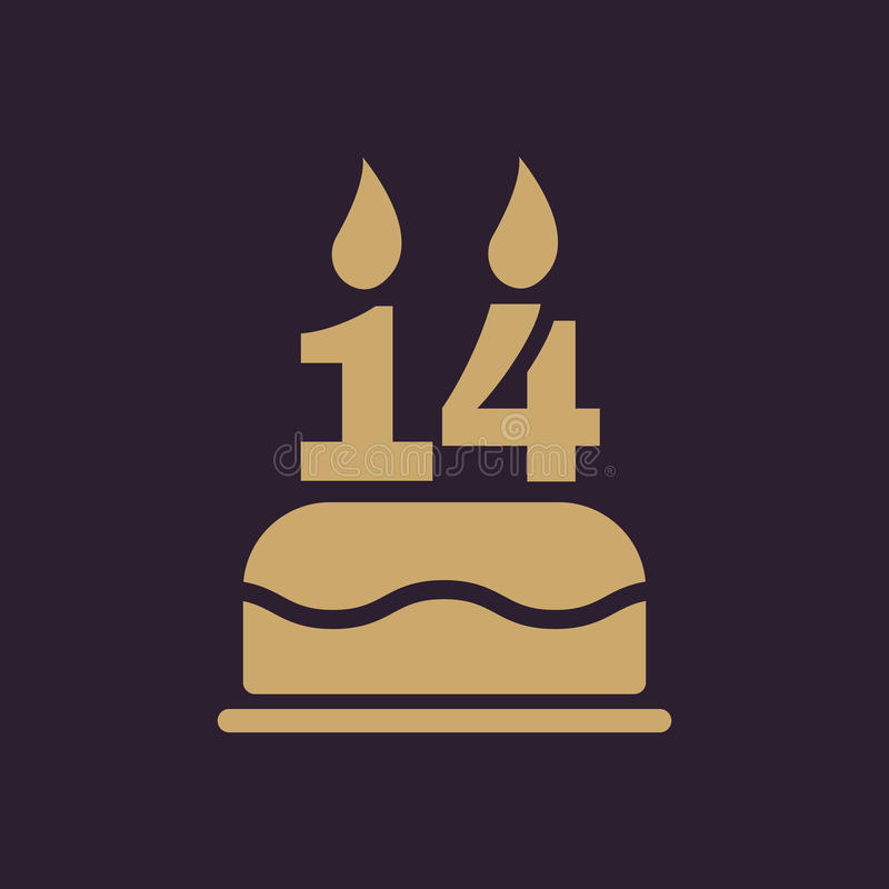 Το κέικ γενεθλίων με τα κεριά υπό μορφή αριθμού 14 εικονίδιο σύμβολο γενεθλίων επίπεδος ελεύθερη απεικόνιση δικαιώματος