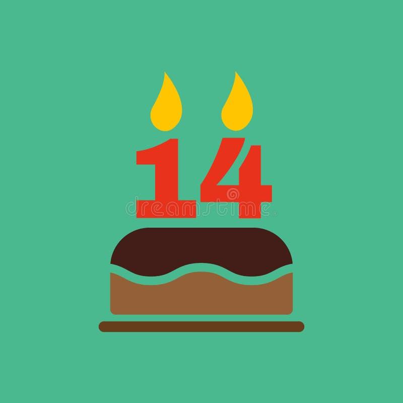 Το κέικ γενεθλίων με τα κεριά υπό μορφή αριθμού 14 εικονίδιο σύμβολο γενεθλίων επίπεδος διανυσματική απεικόνιση