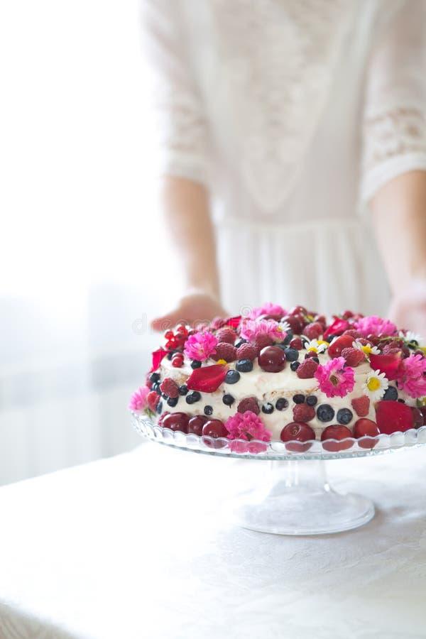 Το κέικ φρούτων μούρων, σπιτικό κέικ μπισκότων με την κρέμα, στα χέρια γυναικών ενάντια του ελαφριού καλοκαιριού ανθίζει το υπόβα στοκ εικόνες