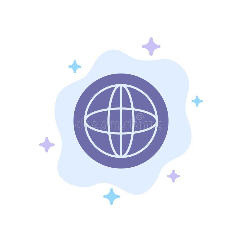Το κέντρο, επικοινωνία, σφαιρική, βοήθεια, υποστηρίζει το μπλε εικονίδιο στο αφηρημένο υπόβαθρο σύννεφων διανυσματική απεικόνιση