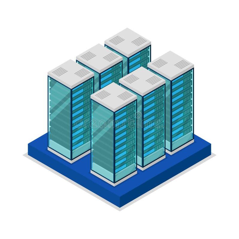 Το κέντρο στοιχείων με τον κεντρικό υπολογιστή βασανίζει το isometric τρισδιάστατο εικονίδιο απεικόνιση αποθεμάτων