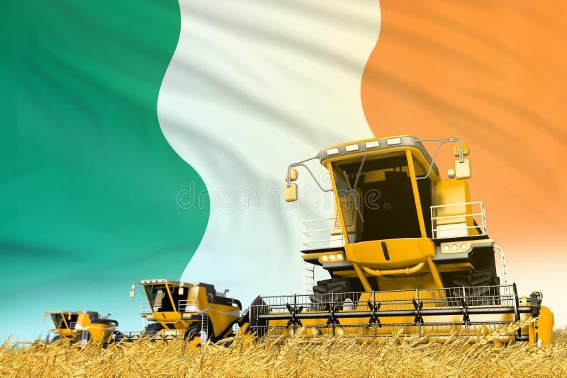 Το κίτρινο αγρόκτημα γεωργικό συνδυάζει τη θεριστική μηχανή στον τομέα με το υπόβαθρο σημαιών της Ιρλανδίας, έννοια βιομηχανίας τ ελεύθερη απεικόνιση δικαιώματος