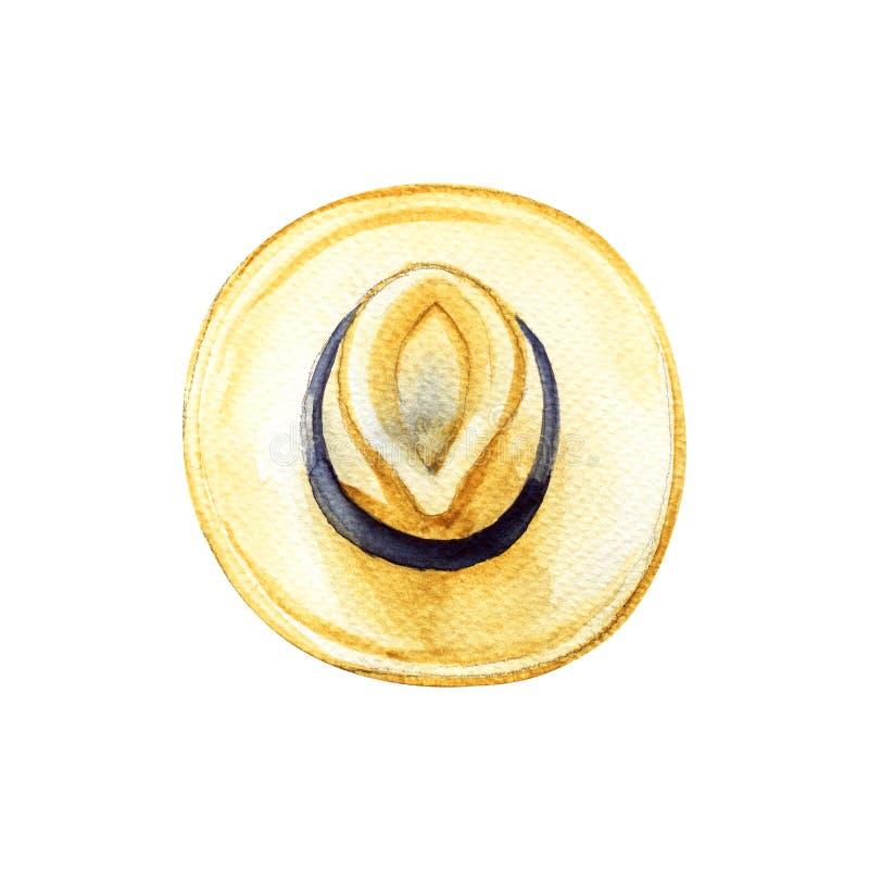 Το κίτρινο καπέλο ήλιων παραλιών αχύρου με τη μαύρη κορδέλλα, θερινό εξάρτημα, απομόνωσε το αντικείμενο, τις θερινές διακοπές και στοκ φωτογραφίες με δικαίωμα ελεύθερης χρήσης