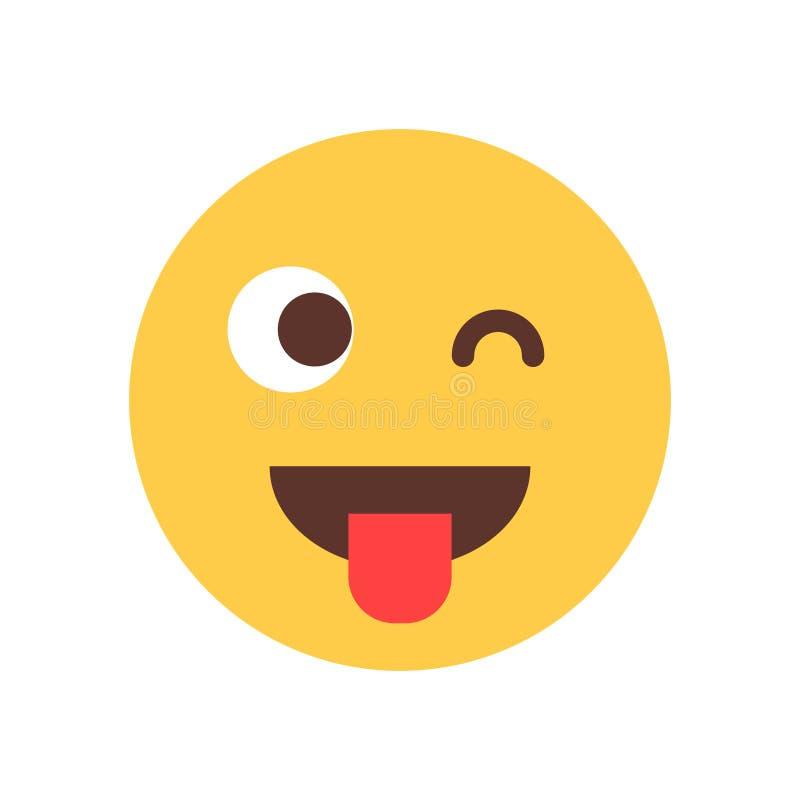 Το κίτρινο πρόσωπο κινούμενων σχεδίων χαμόγελου παρουσιάζει ότι η γλώσσα κλείνει το μάτι εικονίδιο συγκίνησης ανθρώπων Emoji ελεύθερη απεικόνιση δικαιώματος