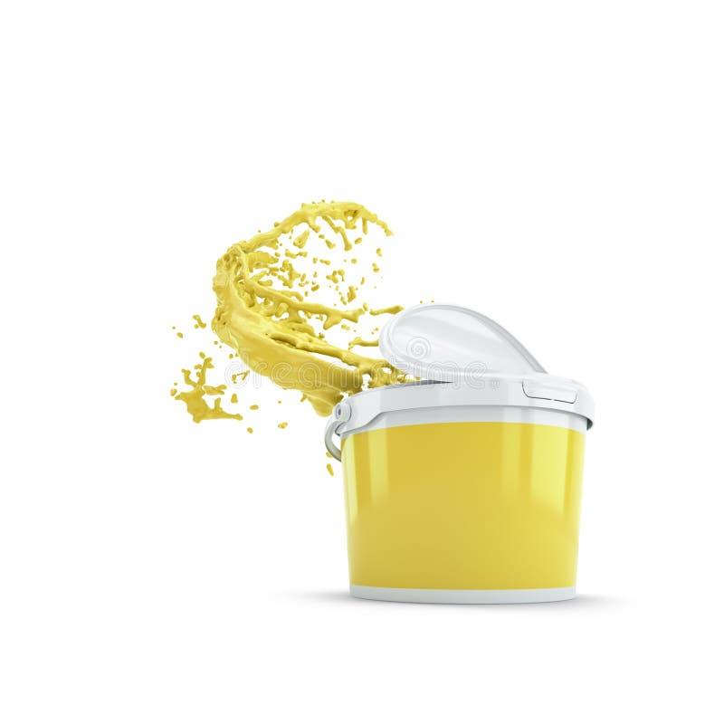Το κίτρινο ράντισμα χρωμάτων από το πλαστικό μπορεί Πέρα από το λευκό ελεύθερη απεικόνιση δικαιώματος