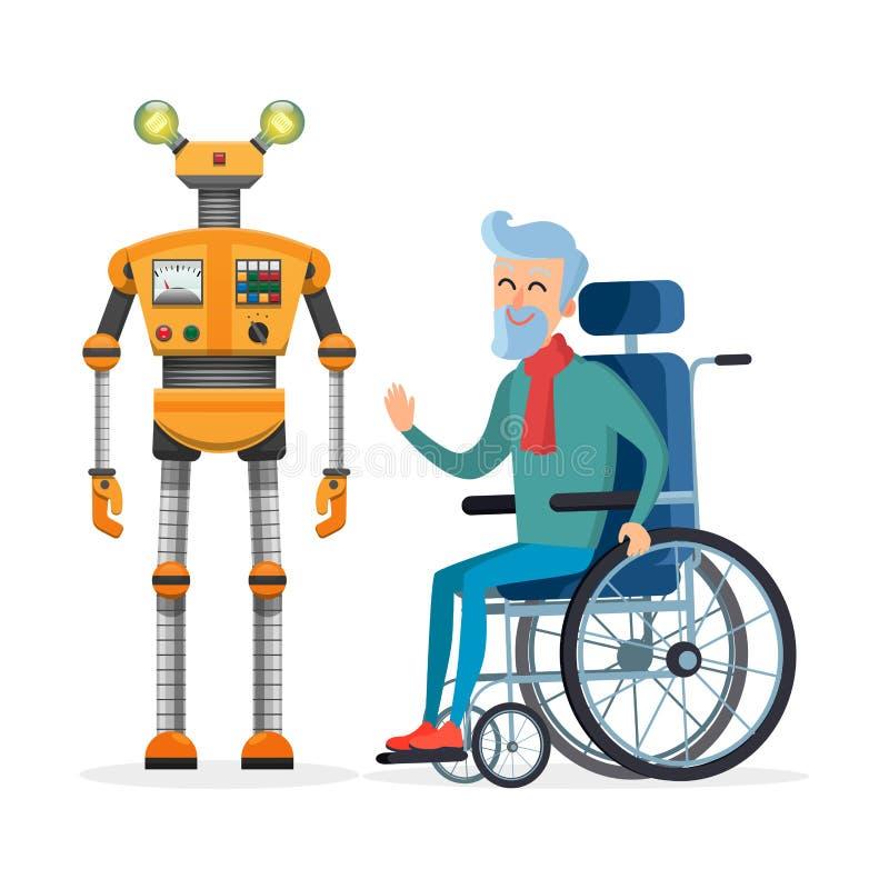 Το κίτρινο ρομπότ βοηθά το διάνυσμα με ειδικές ανάγκες ατόμων απεικόνιση αποθεμάτων