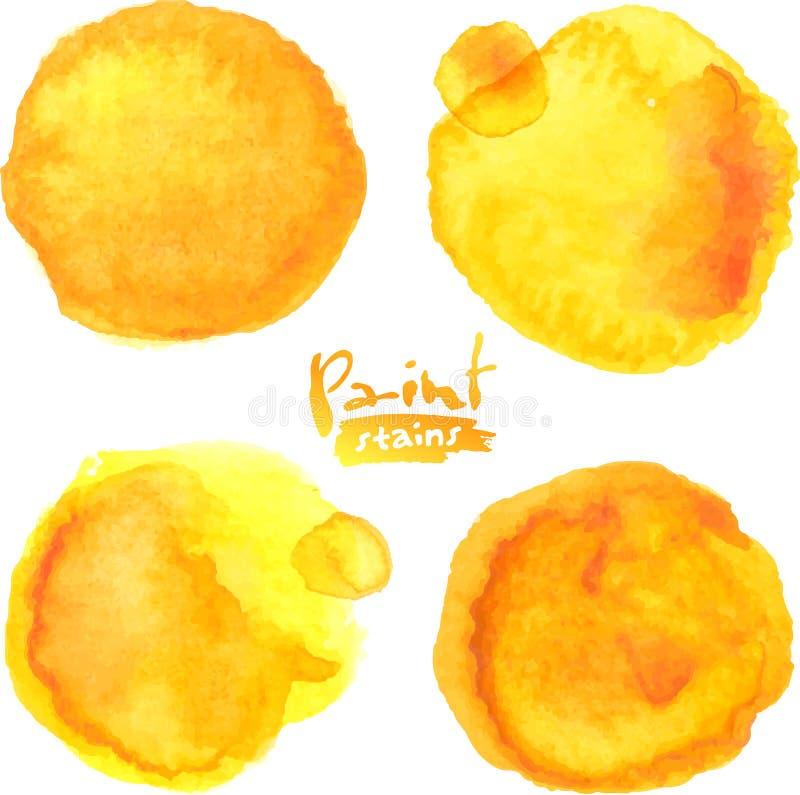Το κίτρινο watercolor χρωμάτισε τους διανυσματικούς λεκέδες καθορισμένους απεικόνιση αποθεμάτων