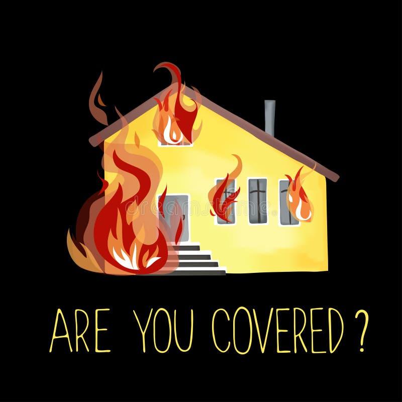 Το καίγοντας σπίτι, πυρκαγιά από τα παράθυρα διανυσματική απεικόνιση