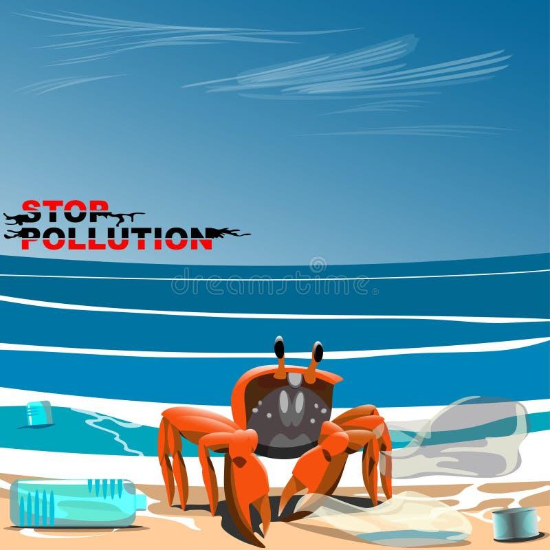 Το καβούρι είναι στην ακτή μεταξύ των σκουπιδιών διανυσματική απεικόνιση