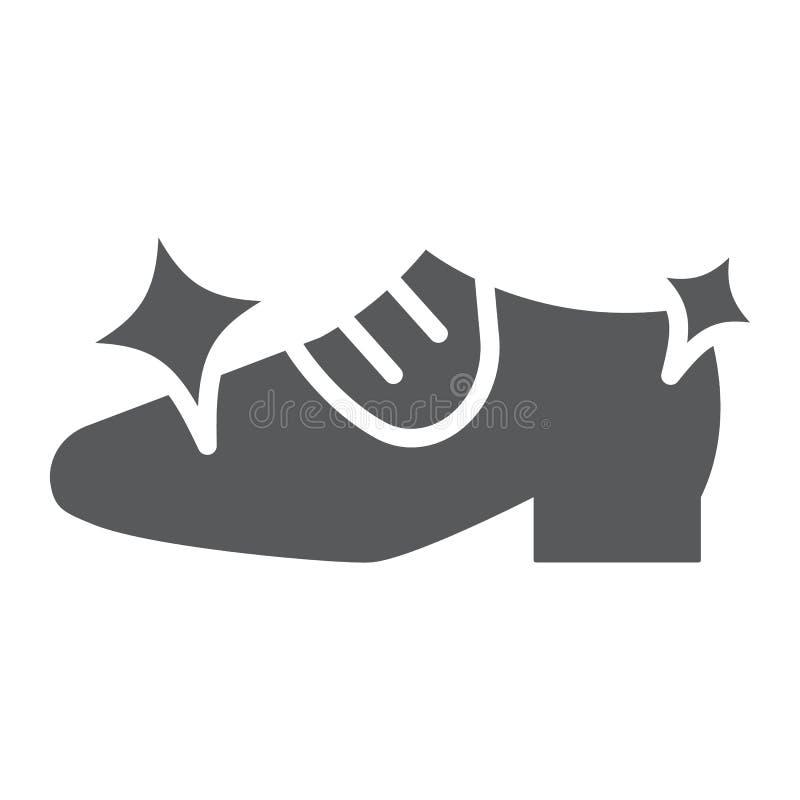 Το καθαρίζοντας glyph εικονίδιο παπουτσιών, καθαρίζει και παπούτσια, λάμποντας σημάδι υποδημάτων, διανυσματική γραφική παράσταση, διανυσματική απεικόνιση