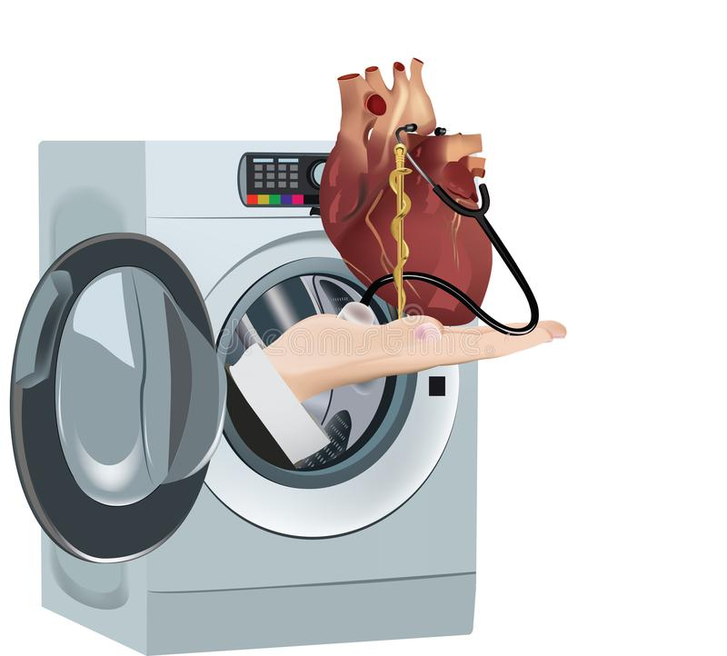 Το καθαρό καθαρίζοντας πλυντήριο αναπαράγει την υγεία καρδιών απεικόνιση αποθεμάτων